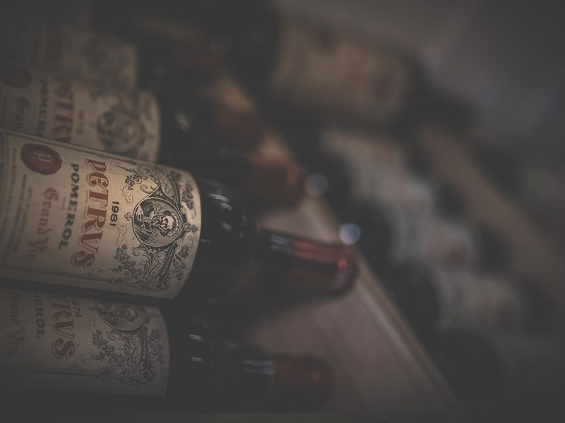 Old vintage 1981 from Petrus stored in a wine cellar